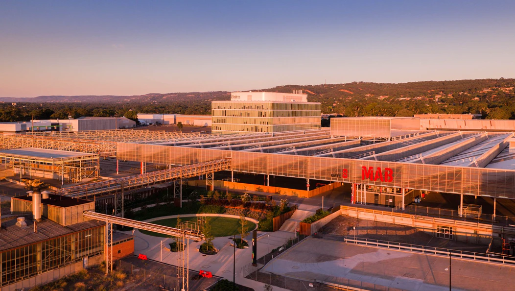 Bird's eye view of the Tonsley Innovation District at sunset