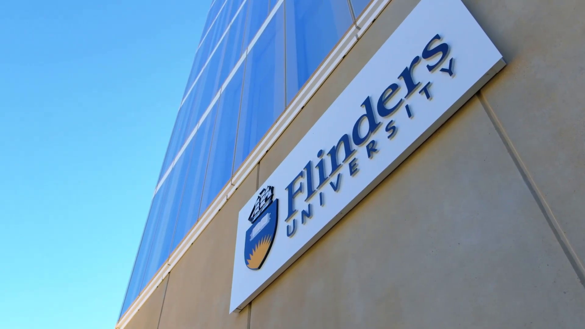 Flinders University sign on Flinders at Tonsley building